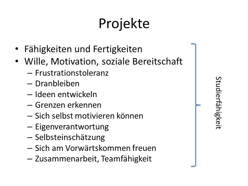 Projekte Fähigkeiten und Fertigkeiten