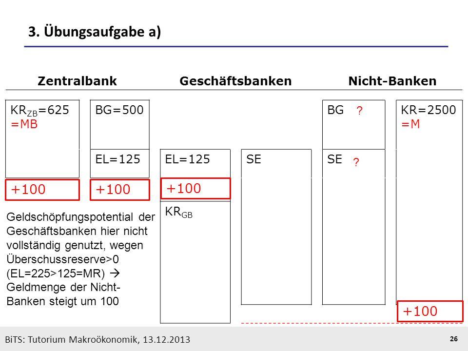 3. Übungsaufgabe a) +100 +100 +100 +100 Zentralbank Geschäftsbanken