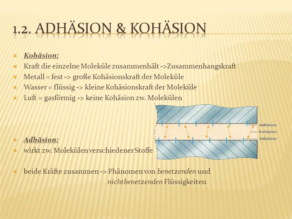 1.2. Adhäsion & Kohäsion Kohäsion: