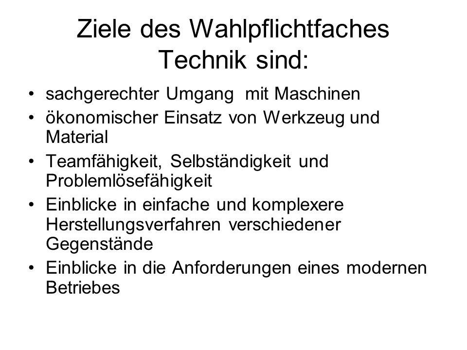 Ziele des Wahlpflichtfaches Technik sind: