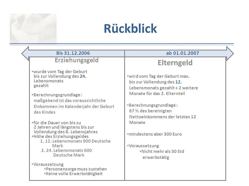 Rückblick Elterngeld Erziehungsgeld Bis 31.12.2006 ab 01.01.2007