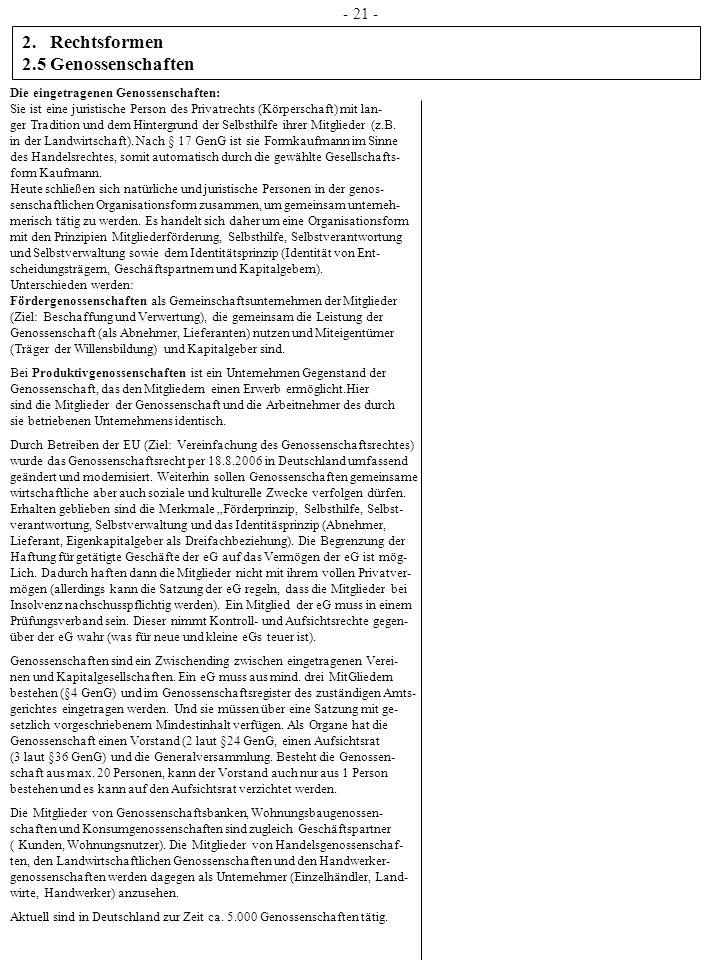 Rechtsformen 2.5 Genossenschaften - 21 -