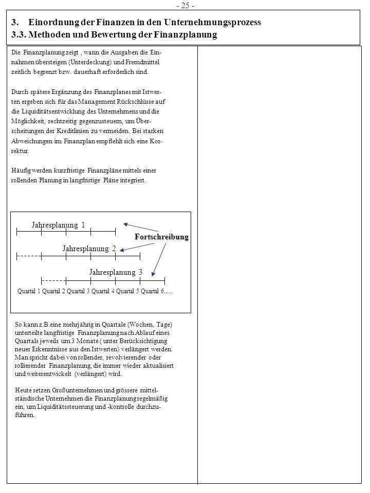 3. Einordnung der Finanzen in den Unternehmungsprozess