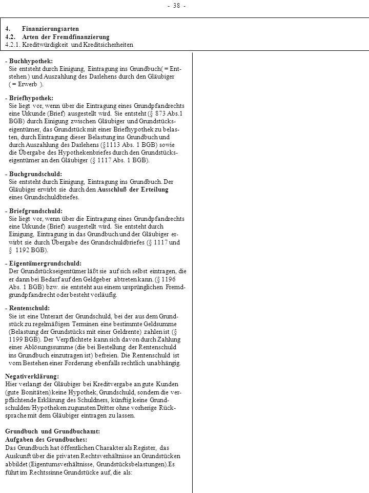 1 - 38 - 4. Finanzierungsarten 4.2. Arten der Fremdfinanzierung