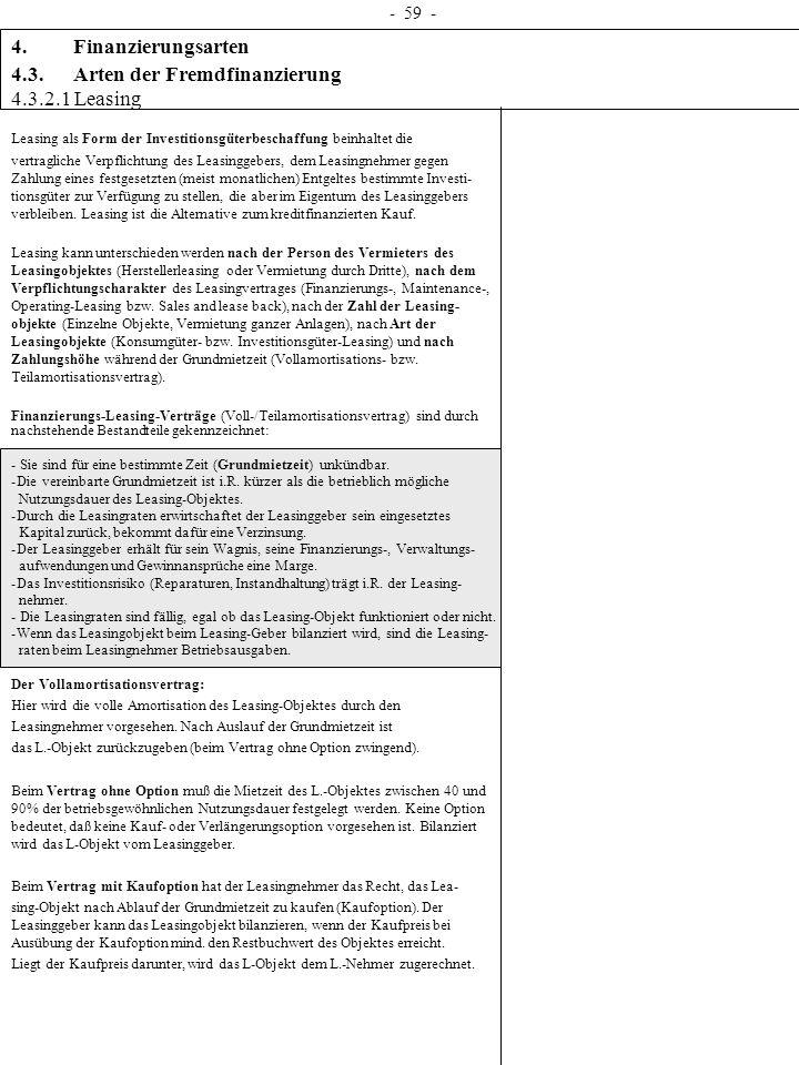 4.3. Arten der Fremdfinanzierung 4.3.2.1 Leasing