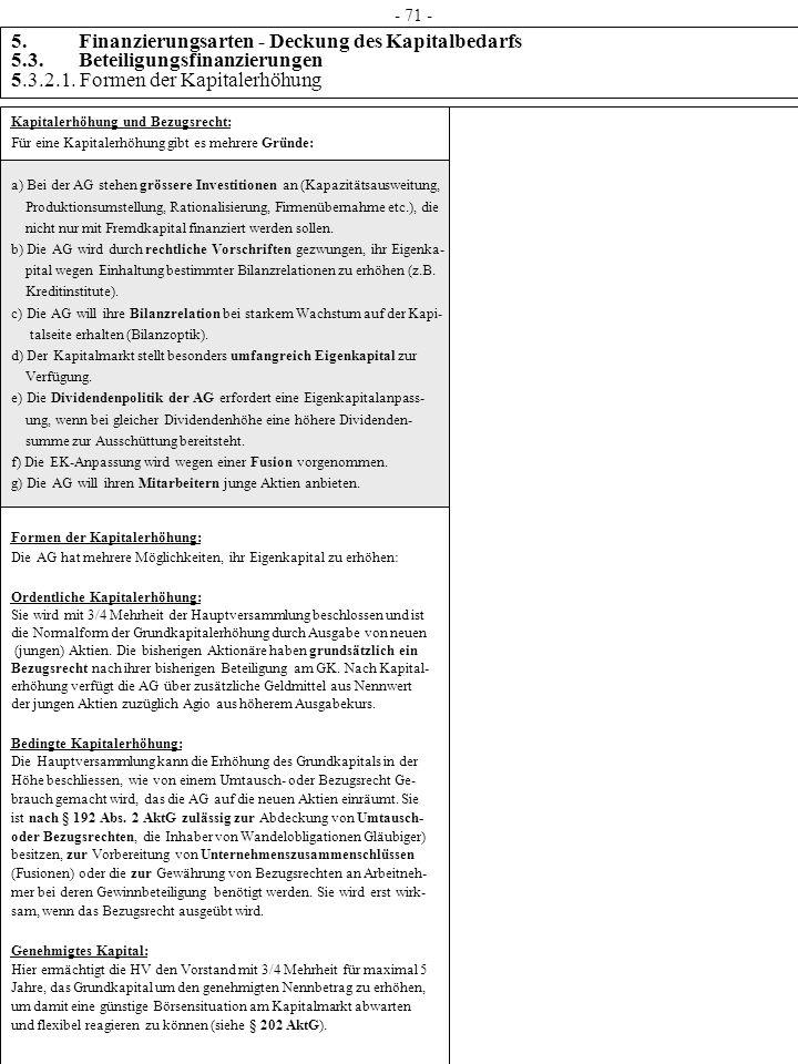 - 71 - 5. Finanzierungsarten - Deckung des Kapitalbedarfs 5.3. Beteiligungsfinanzierungen 5.3.2.1. Formen der Kapitalerhöhung.
