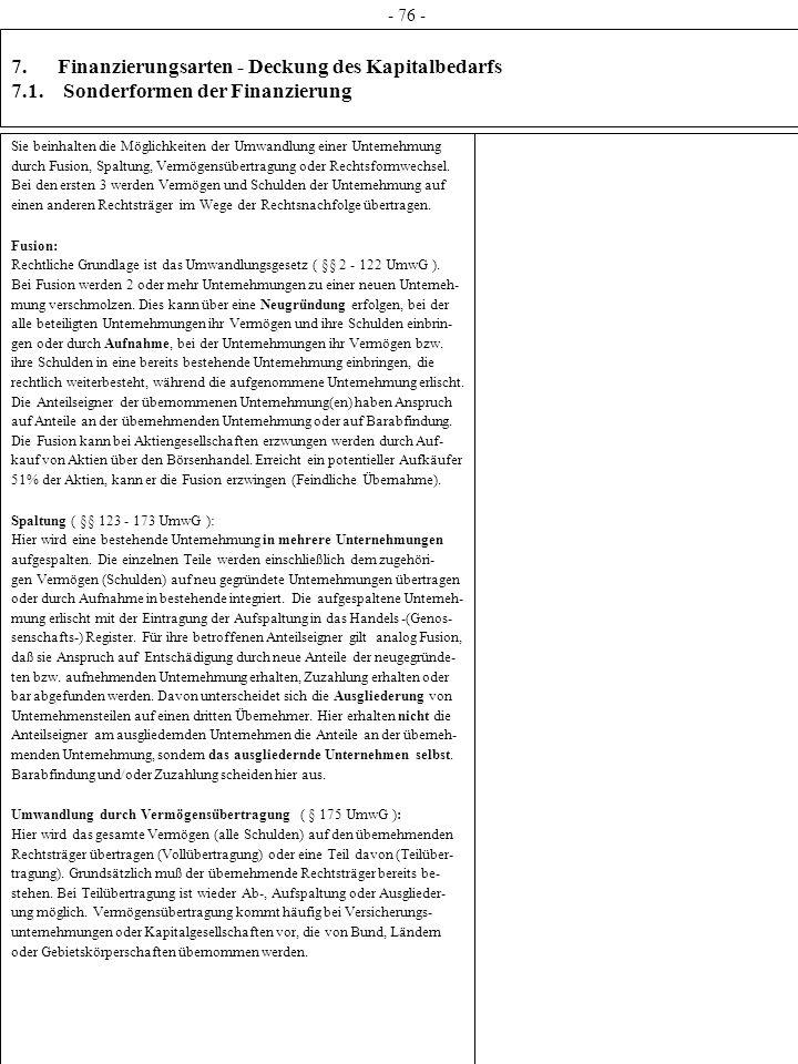- 76 - 7. Finanzierungsarten - Deckung des Kapitalbedarfs 7.1. Sonderformen der Finanzierung.