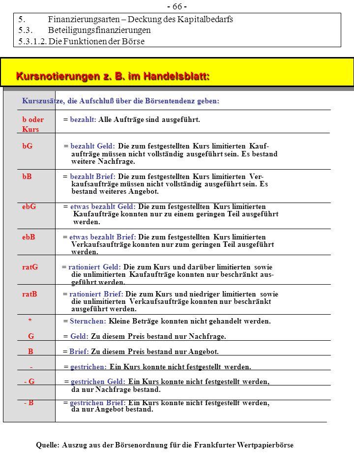 Kursnotierungen z. B. im Handelsblatt: