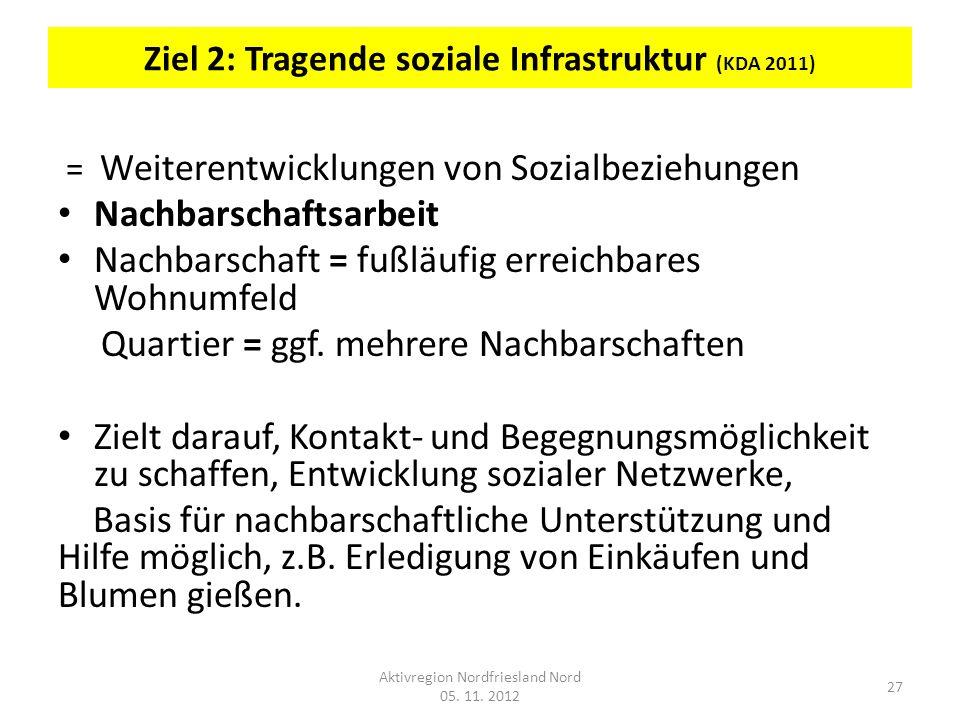 Ziel 2: Tragende soziale Infrastruktur (KDA 2011)