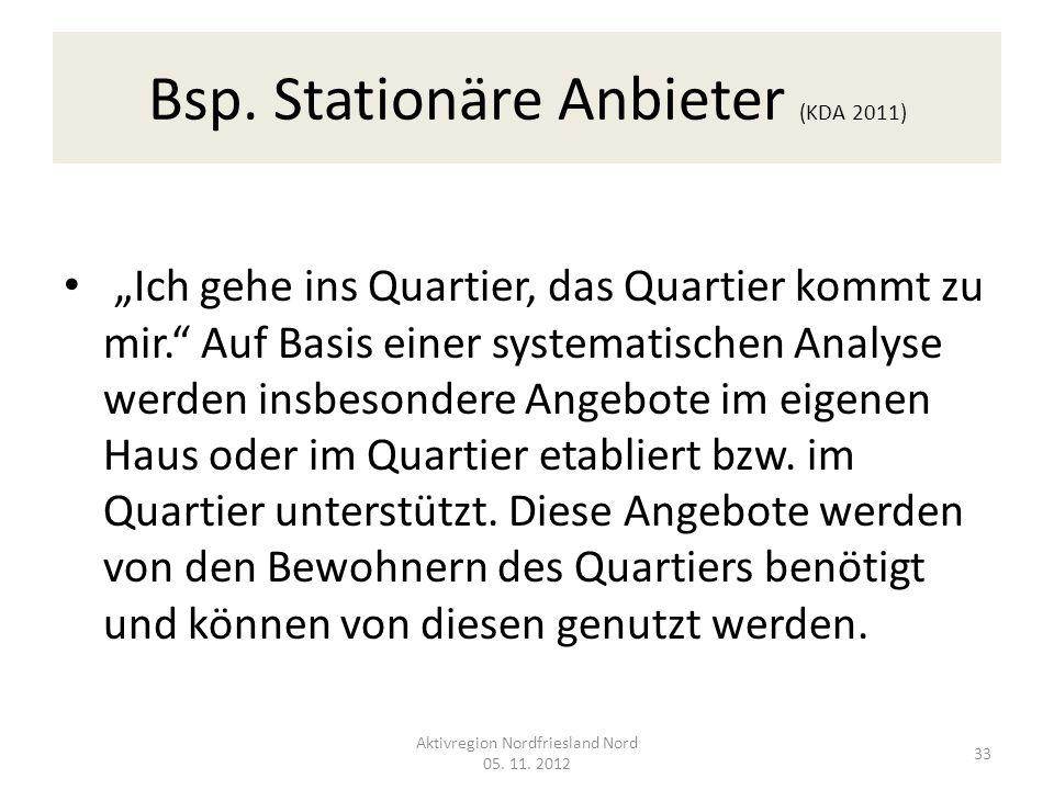 Bsp. Stationäre Anbieter (KDA 2011)