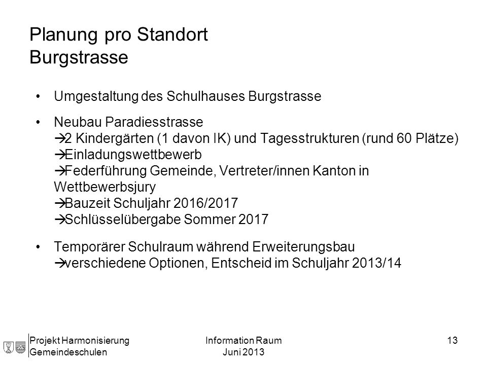 Planung pro Standort Burgstrasse