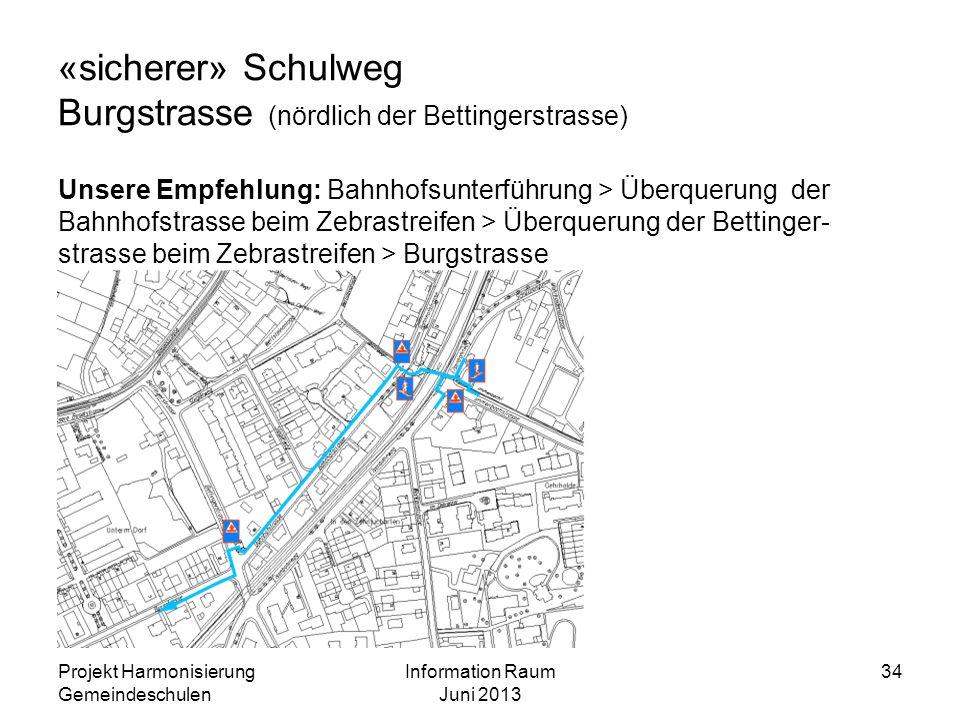 «sicherer» Schulweg Burgstrasse (nördlich der Bettingerstrasse)