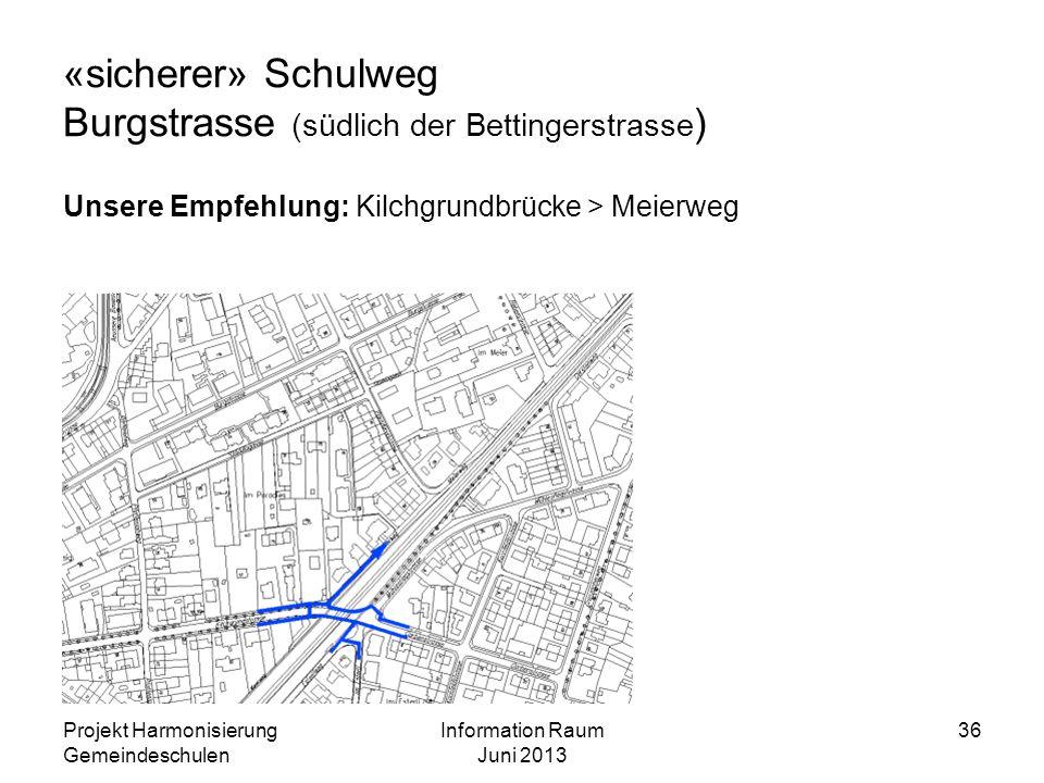 «sicherer» Schulweg Burgstrasse (südlich der Bettingerstrasse)