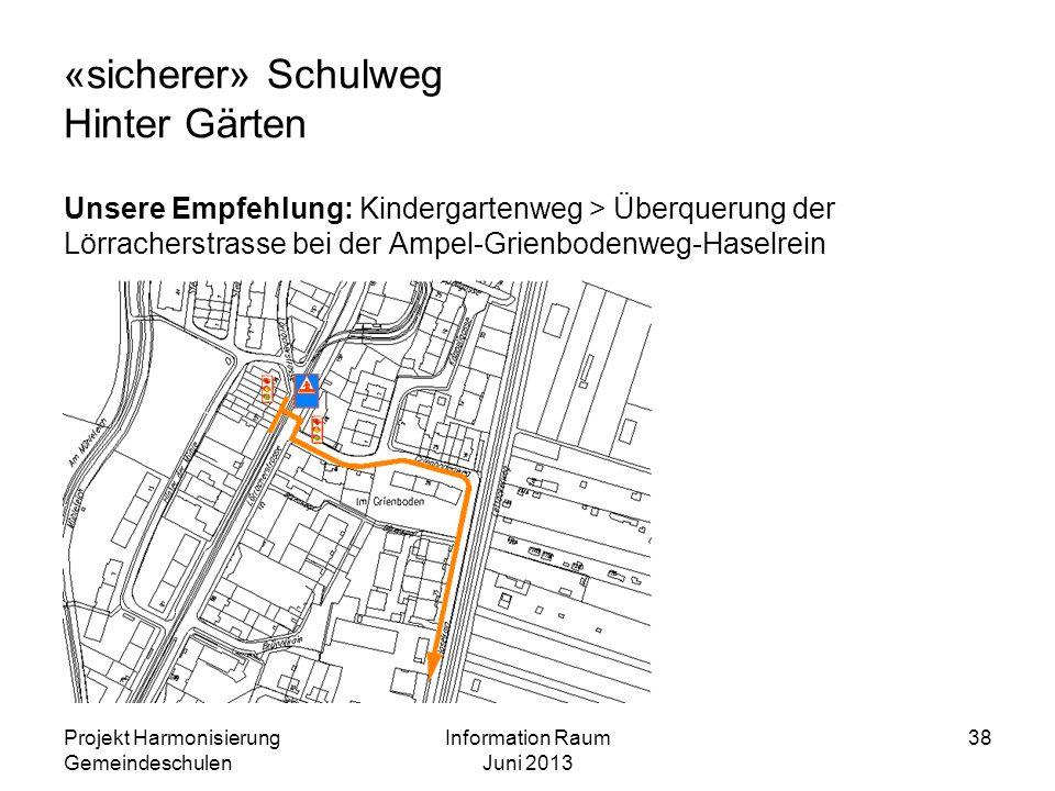 «sicherer» Schulweg Hinter Gärten