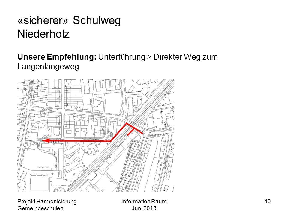 «sicherer» Schulweg Niederholz