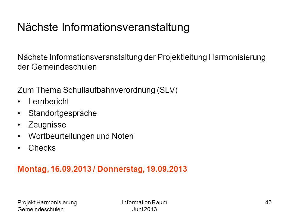 Nächste Informationsveranstaltung