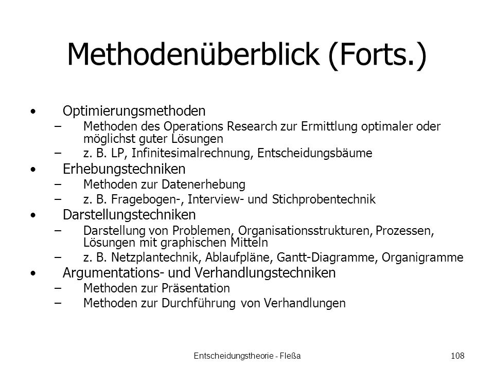 Methodenüberblick (Forts.)