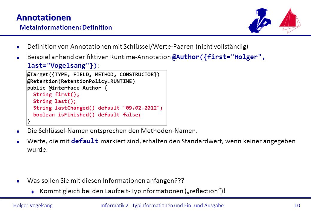 Annotationen Metainformationen: Definition
