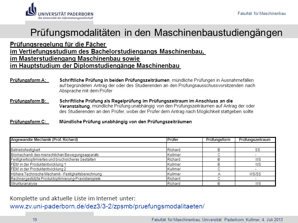 Prüfungsmodalitäten in den Maschinenbaustudiengängen