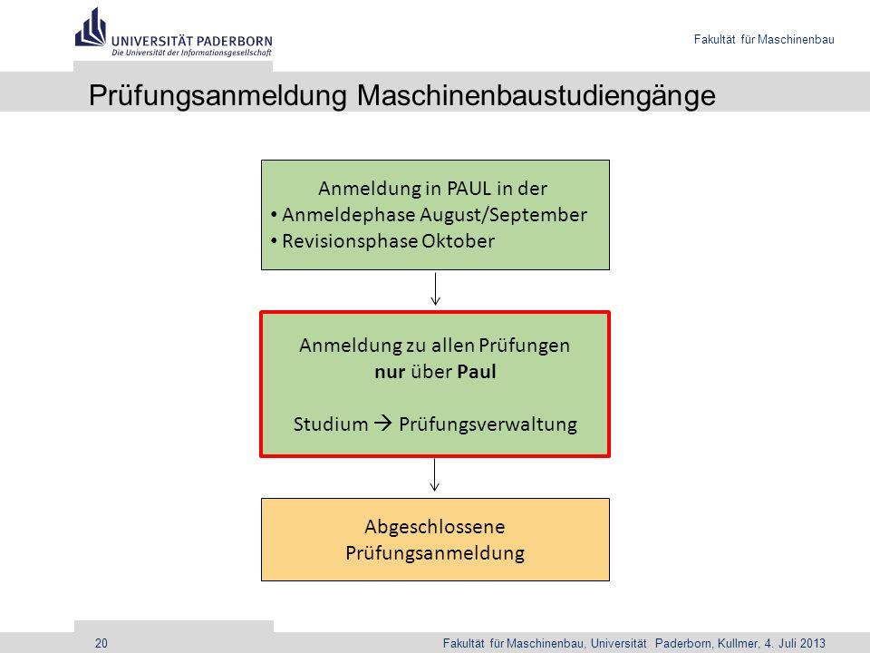 Prüfungsanmeldung Maschinenbaustudiengänge