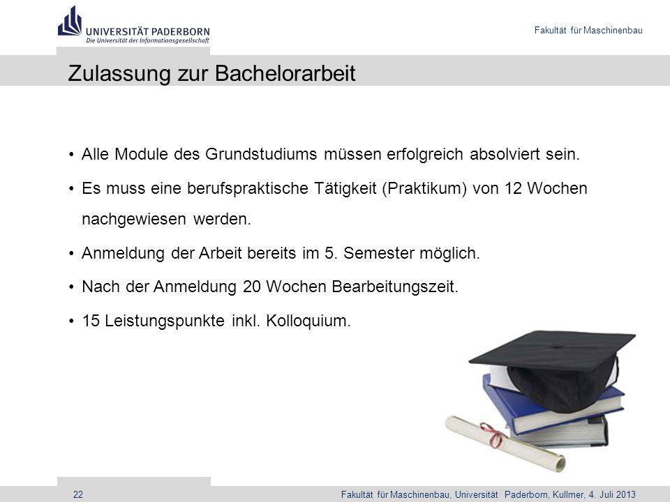 Zulassung zur Bachelorarbeit