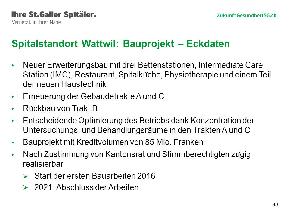 Spitalstandort Wattwil: Bauprojekt – Eckdaten