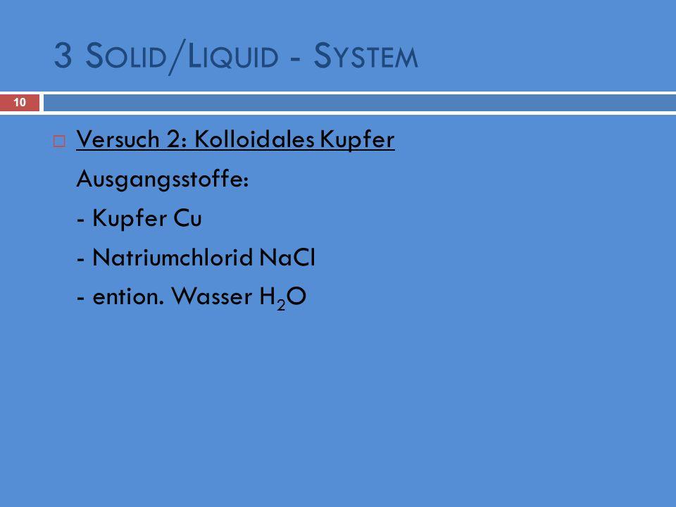 3 Solid/Liquid - System Versuch 2: Kolloidales Kupfer Ausgangsstoffe: