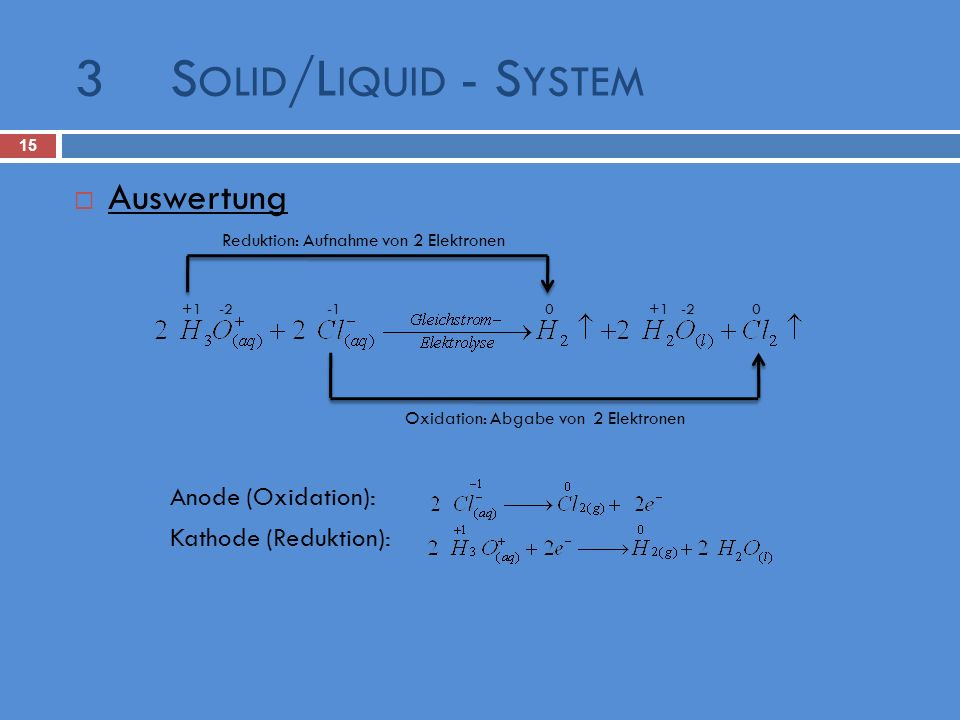 3 Solid/Liquid - System Auswertung Anode (Oxidation):