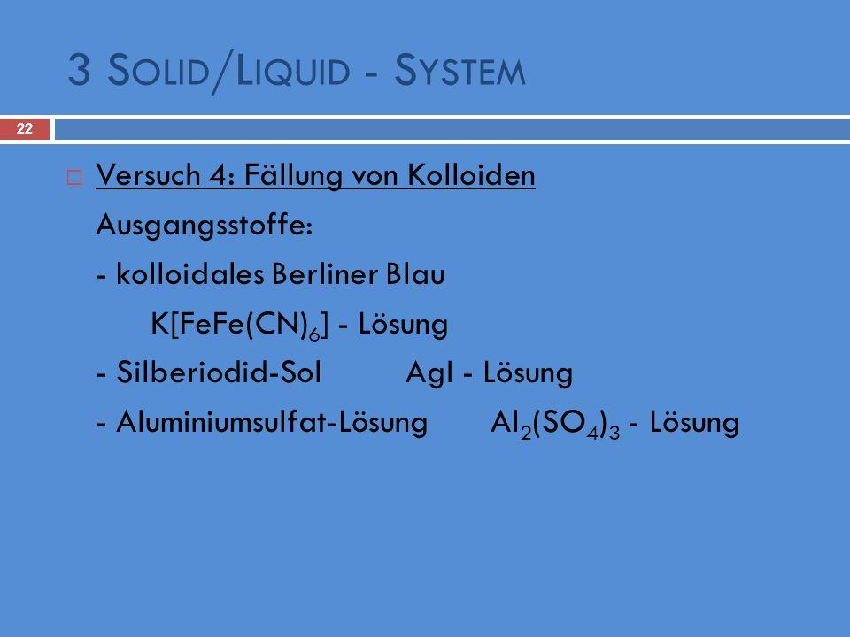 3 Solid/Liquid - System Versuch 4: Fällung von Kolloiden
