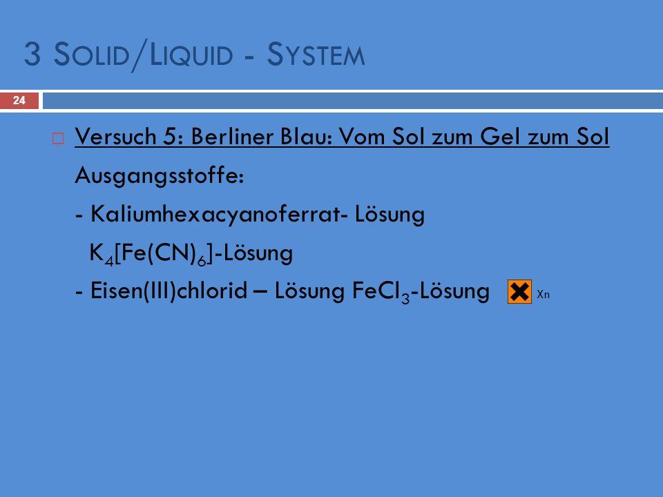 3 Solid/Liquid - SystemVersuch 5: Berliner Blau: Vom Sol zum Gel zum Sol. Ausgangsstoffe: - Kaliumhexacyanoferrat- Lösung.
