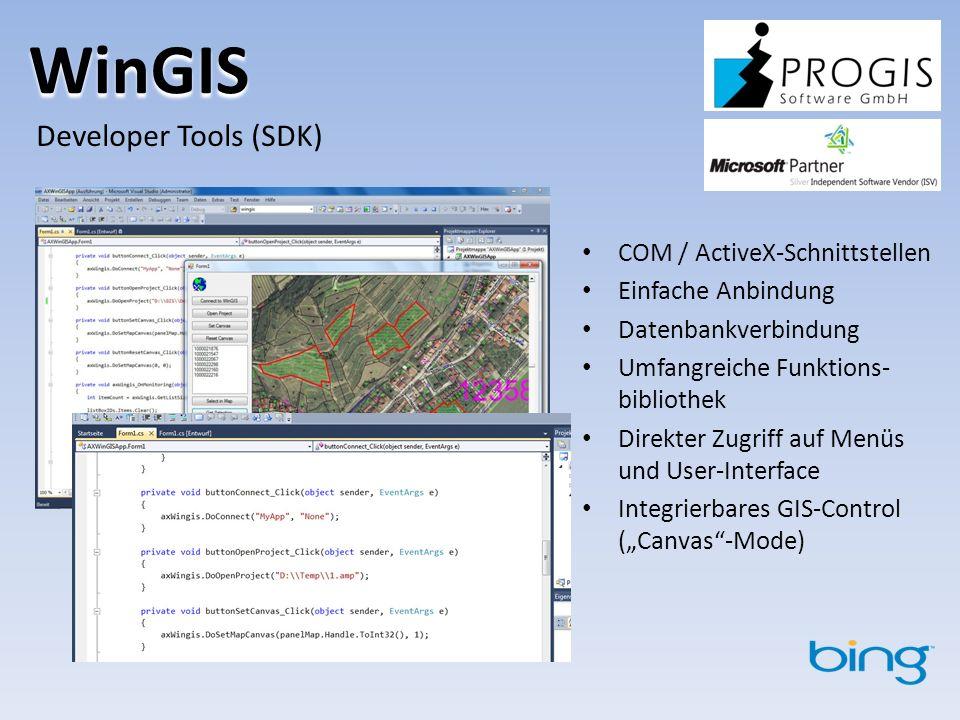 WinGIS Developer Tools (SDK) COM / ActiveX-Schnittstellen