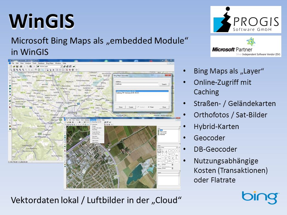 "WinGIS Microsoft Bing Maps als ""embedded Module in WinGIS"