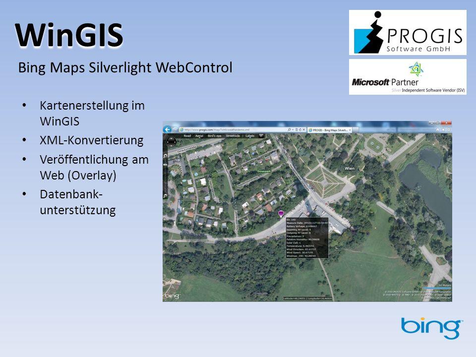 WinGIS Bing Maps Silverlight WebControl Kartenerstellung im WinGIS