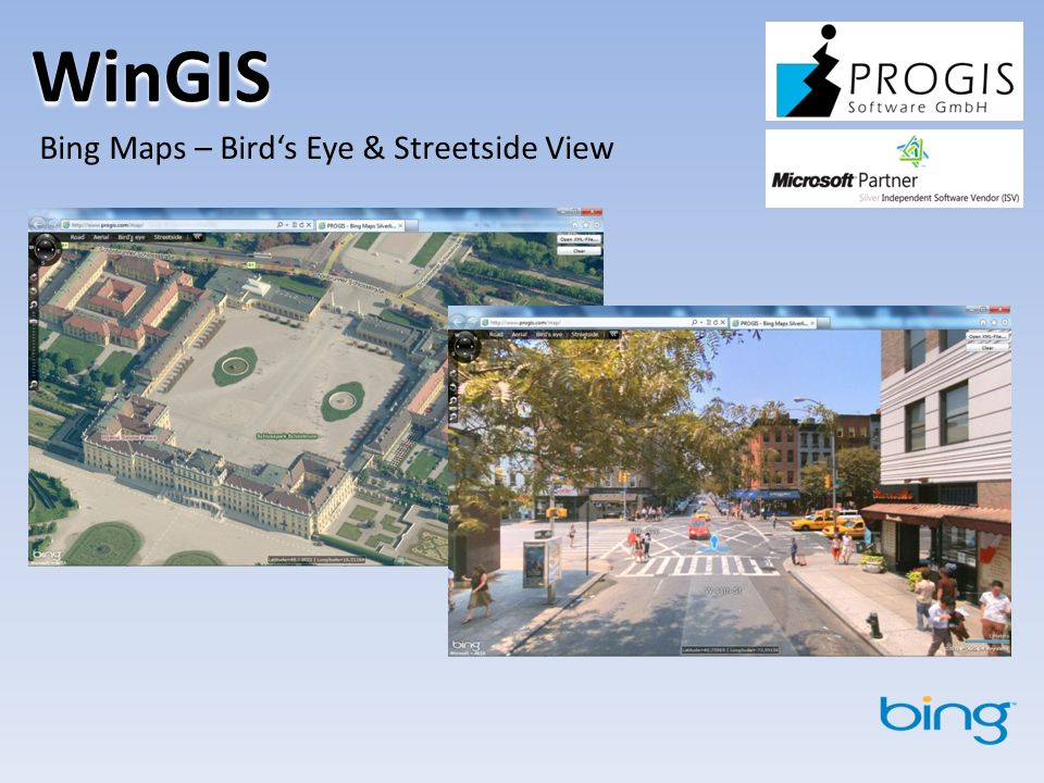 WinGIS Bing Maps – Bird's Eye & Streetside View