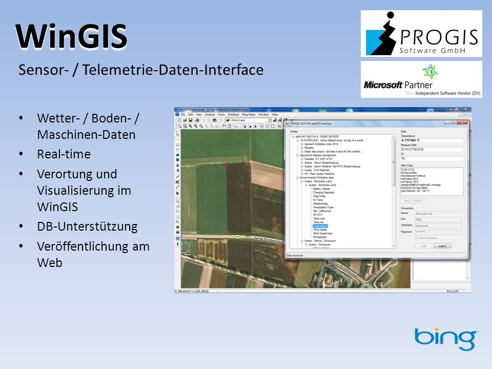 WinGIS Sensor- / Telemetrie-Daten-Interface