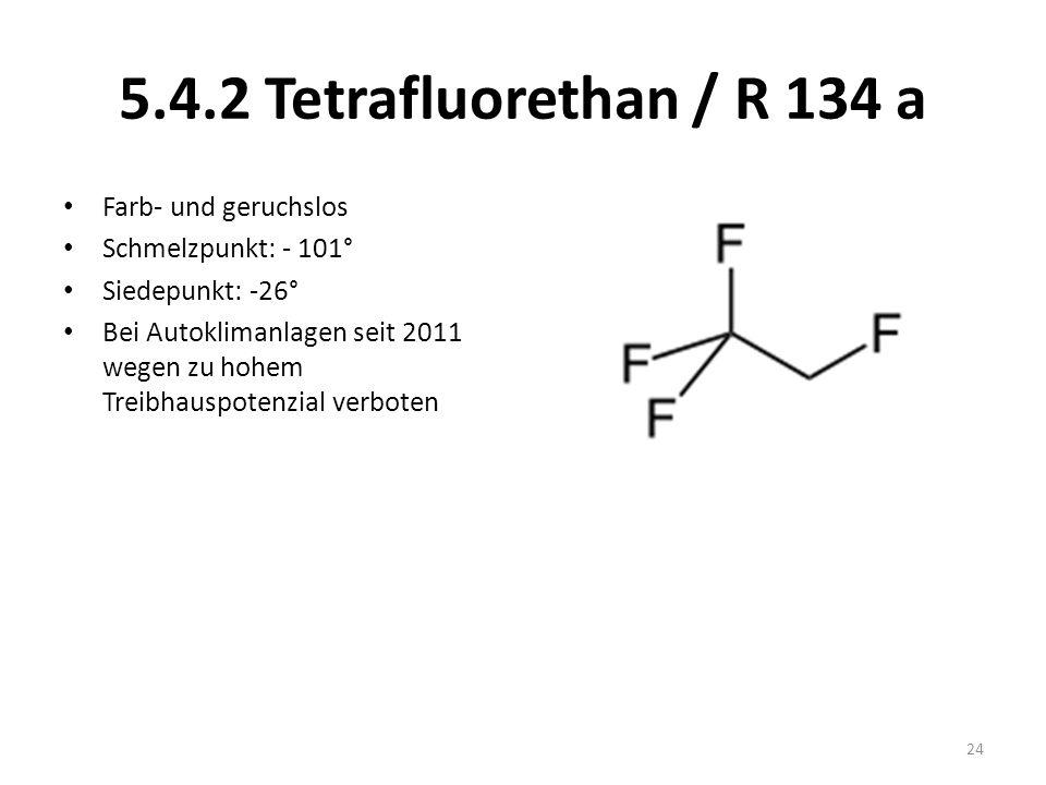 5.4.2 Tetrafluorethan / R 134 a Farb- und geruchslos