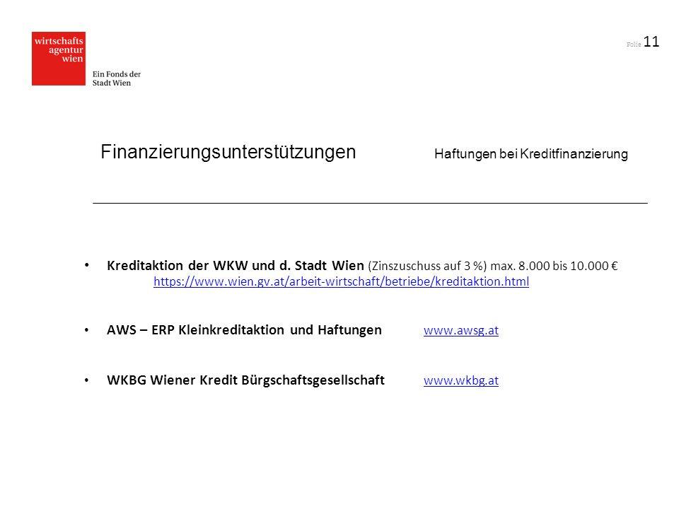 Finanzierungsunterstützungen Haftungen bei Kreditfinanzierung