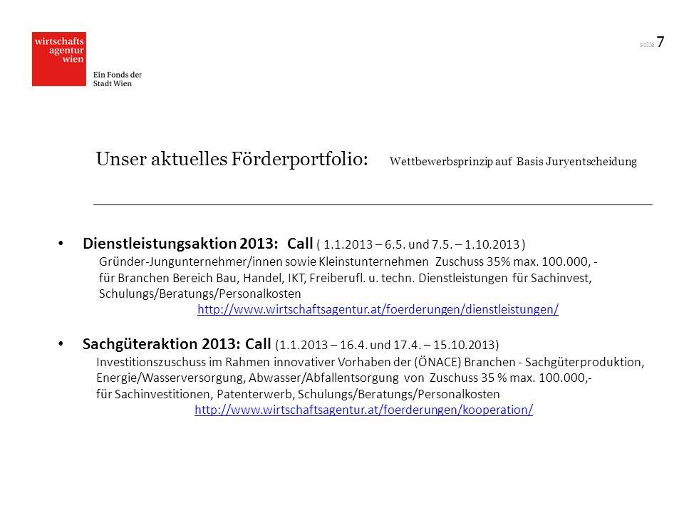 7 Unser aktuelles Förderportfolio: Wettbewerbsprinzip auf Basis Juryentscheidung.