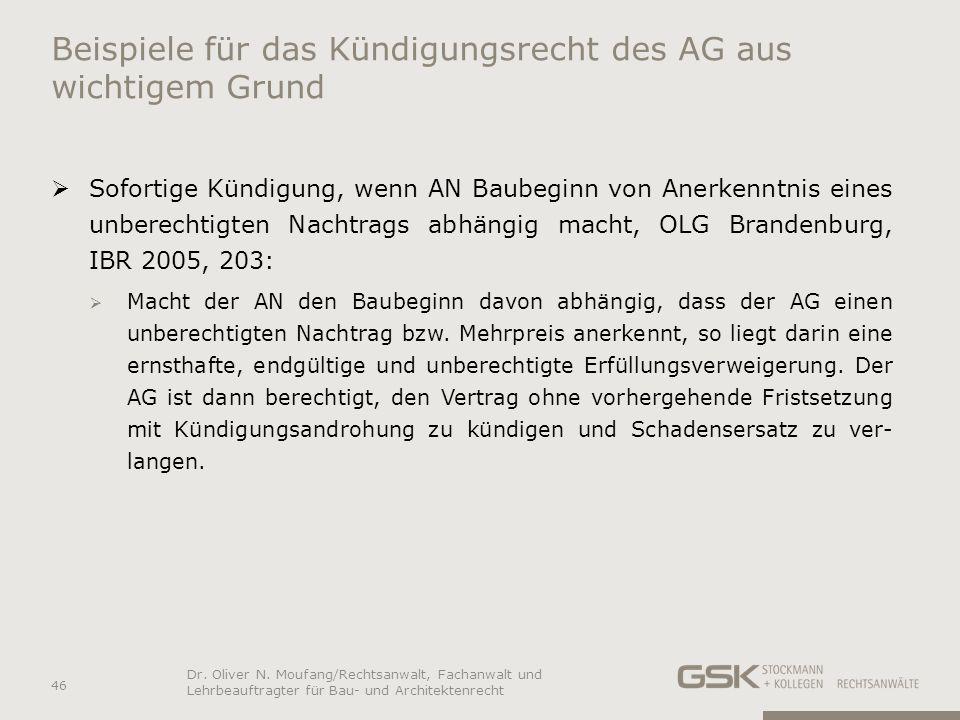 Beispiele für das Kündigungsrecht des AG aus wichtigem Grund