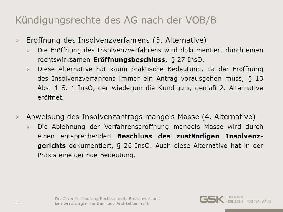 Kündigungsrechte des AG nach der VOB/B