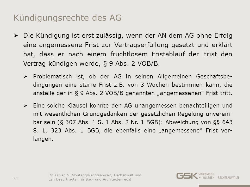 Kündigungsrechte des AG