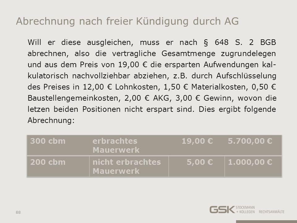 Abrechnung nach freier Kündigung durch AG