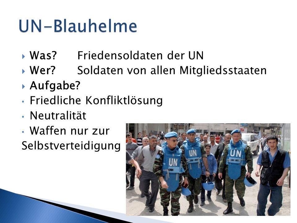UN-Blauhelme Was Friedensoldaten der UN