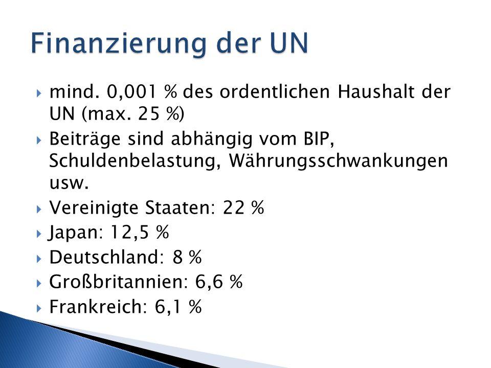 Finanzierung der UN mind. 0,001 % des ordentlichen Haushalt der UN (max. 25 %)
