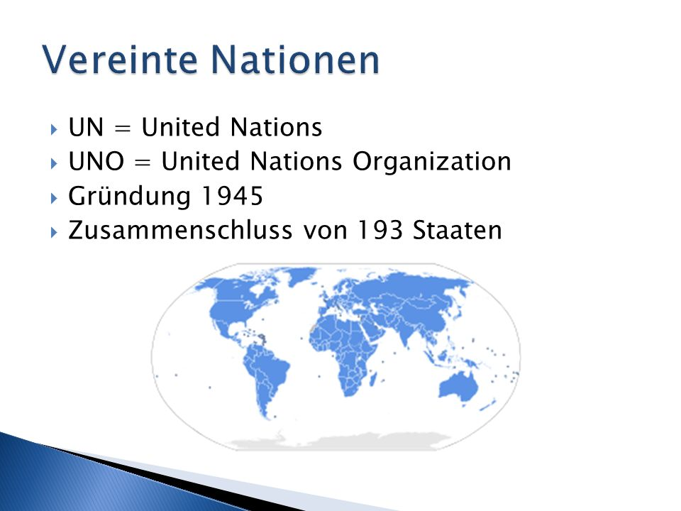 Vereinte Nationen UN = United Nations