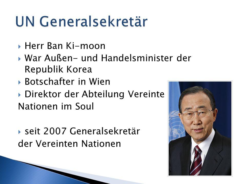 UN Generalsekretär Herr Ban Ki-moon