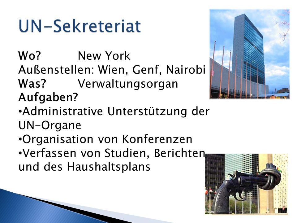 UN-Sekreteriat Wo New York Außenstellen: Wien, Genf, Nairobi