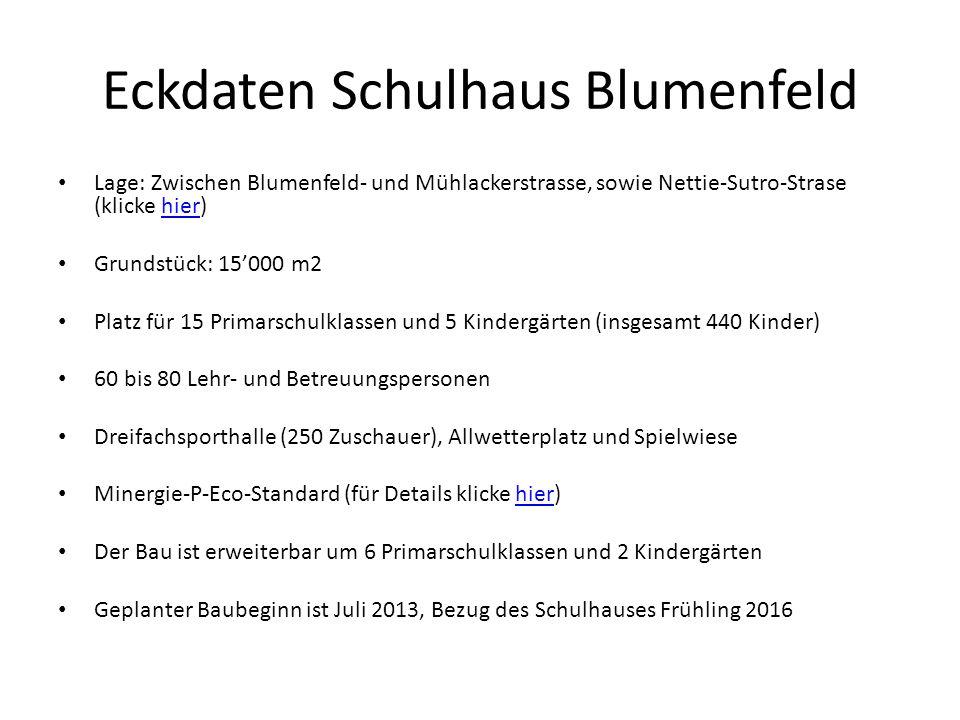Eckdaten Schulhaus Blumenfeld