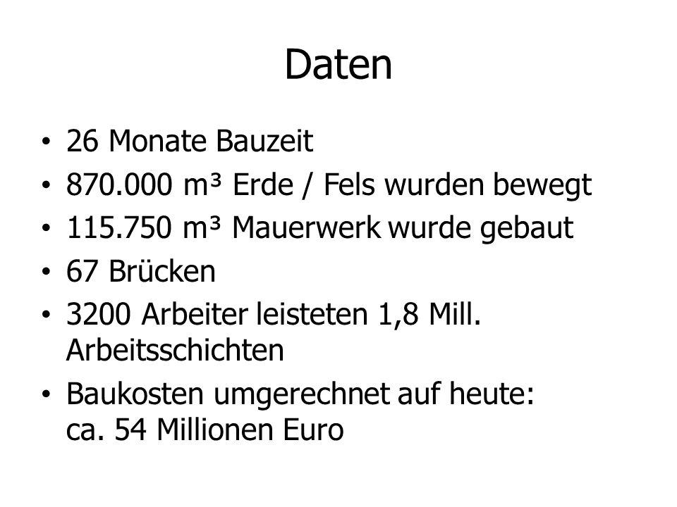 Daten 26 Monate Bauzeit 870.000 m³ Erde / Fels wurden bewegt