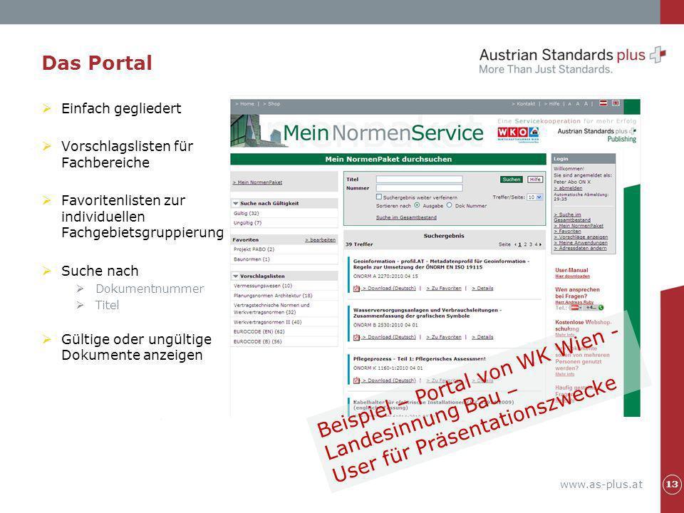 Beispiel – Portal von WK Wien - Landesinnung Bau –
